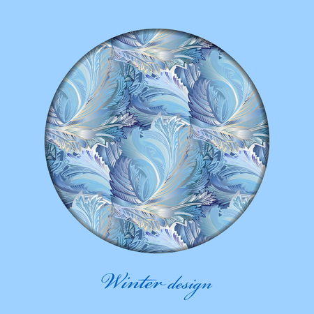 rime frost: Blue winter frozen glass. Circle design background. Text place.