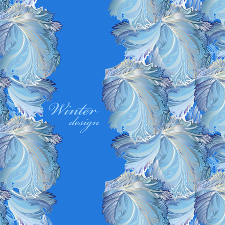frosted window: Blue vertical border winter frozen glass background. Text place. Vintage illustration. Illustration