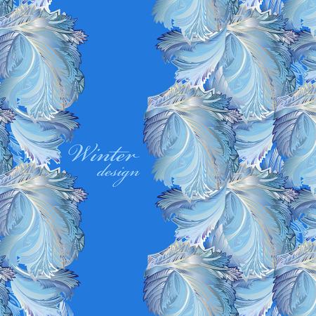 hoar frost: Blue vertical border winter frozen glass background. Text place. Vintage illustration. Illustration