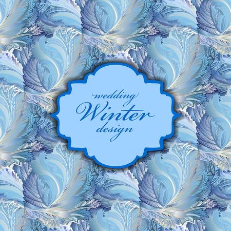 frozen glass: Blue centre design. Winter frozen glass pattern background. Vintage label. Text place.