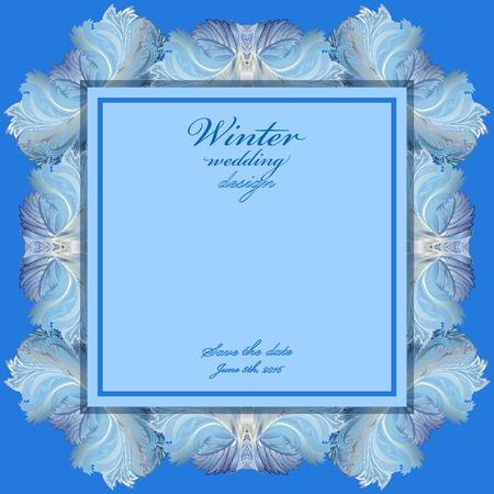 frozen glass: Blue wedding frame design. Winter frozen glass background. Text place. Vintage illustration.