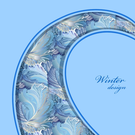 frosted window: Blue curl border design. Winter frozen glass background. Text place. Vintage illustration.