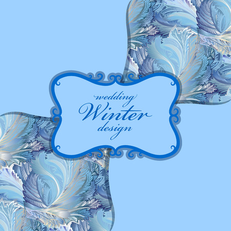 hoar frost: Blue center design. Winter frozen glass pattern background. Vintage label. Text place.  Illustration