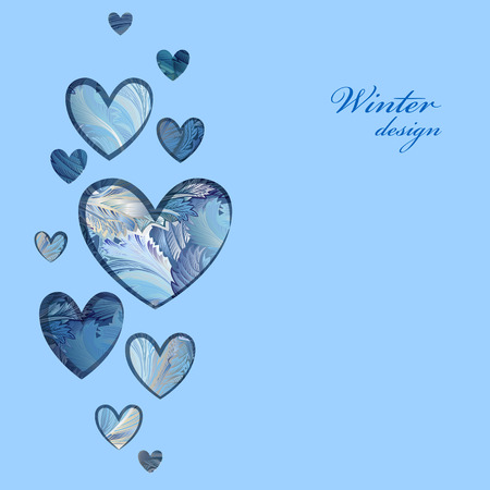 frosted window: Hand drawn winter frozen glass heart design with text place. Love card.  Illustration