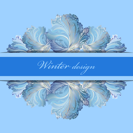 frosted window: Blue horizontal center stripe border design. Winter frozen glass background. Text place. Vintage illustration.