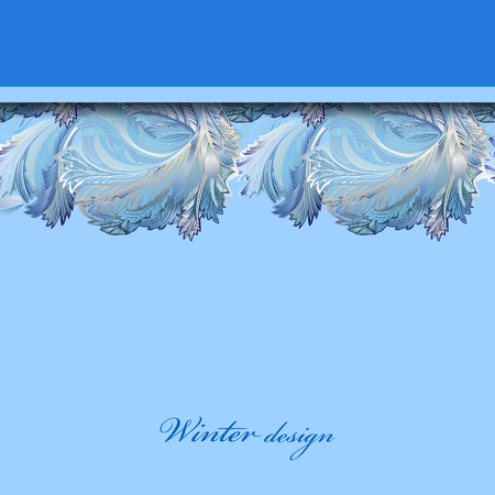 frozen glass: Blue top horizontal stripe border design. Winter frozen glass background. Text place. Vintage illustration.