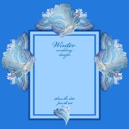 hoar frost: Blue wedding vertical frame with winter frozen glass design. Text place. Vintage illustration. Illustration