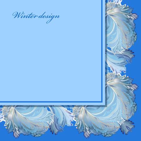 frozen glass: Blue horizontal angle border design. Winter frozen glass background. Text place. Vintage illustration. Illustration