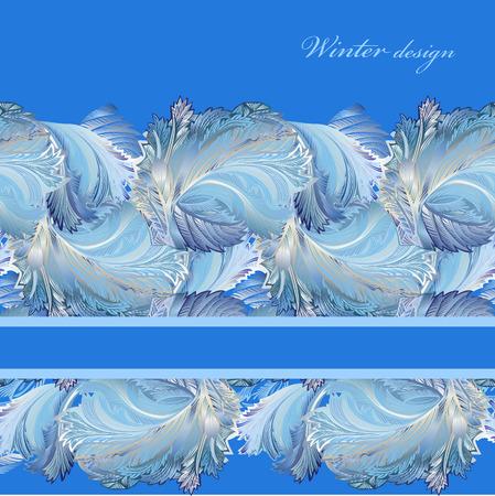 hoar frost: Blue horizontal stripe border design. Winter frozen glass background. Text place. Vintage illustration.