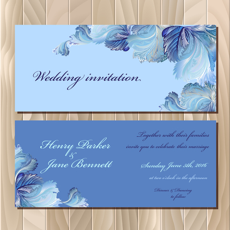 winter wedding: Wedding invitation card with winter frozen glass design. Printable backgrounds set. Blue horizontal design.
