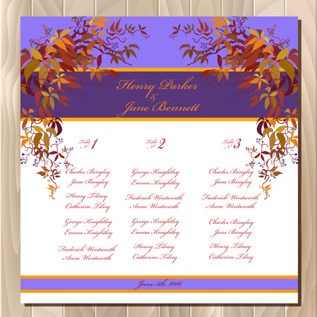 wedding table decor: Wedding guest list for table. background with autumn wild grape branches with orange red leaves. Printable backgrounds set. Deep blue and orange wedding design blank template. Illustration