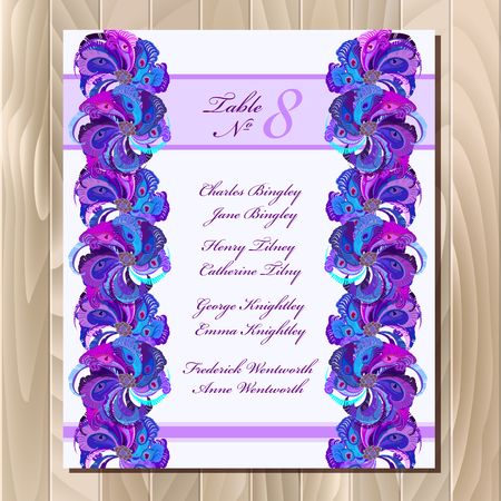 guest: Guest list for table. background peacock feathers. Golden wedding design blank template.  Illustration