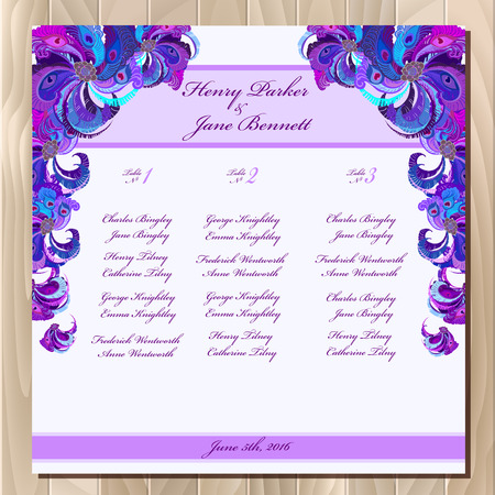 peacock design: Wedding guest list for table. background peacock feathers. Violet wedding design blank template.