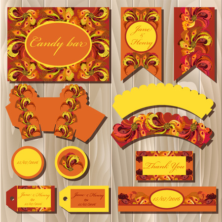 candy bar: Set of printable backgrounds to celebrate the party, birthday and wedding. Orange, yellow and red peacock feathers. Candy bar design Illustration