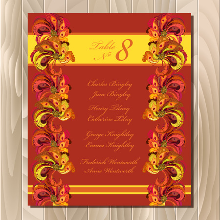 guest: Guest list for table. Background peacock feathers. Golden orange, burgundy, brown and red wedding design blank template.