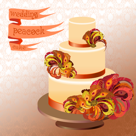 orange cake: Wedding cake with peacock feathers. Orange, burgundy, brown and red design. Ribbon with text.