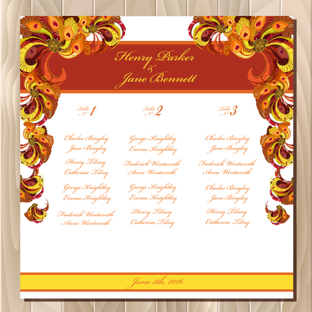 wedding guest: Wedding guest list for table. background peacock feathers. Golden, orange, burgundy, brown and red wedding design blank template.