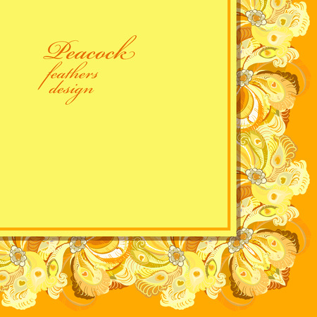 peacock design: Wedding angular frame with peacock feathers. Printable abstract background. Orange yellow light design.