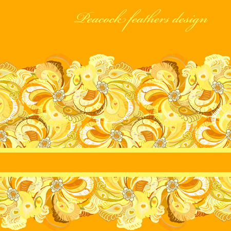 peacock design: Beautiful golden orange and yellow peacock feathers background. Horizontal stripe design. Text place. Vintage illustration.
