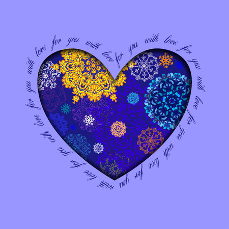 rime frost: Hand drawn winter heart design with text - for you with love. Gold, blue and white snowflakes and stars and dark blue background. Love card.  Illustration