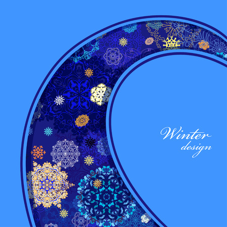 blue snowflakes: Winter curl border design with red, pink and blue snowflakes and stars and dark blue background. Vintage label. Text place. Vector illustration.