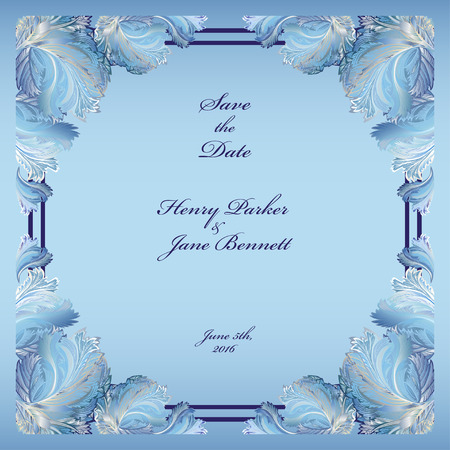 hoar frost: Wedding frame with winter frozen glass design. Printable abstract background. Light blue design.