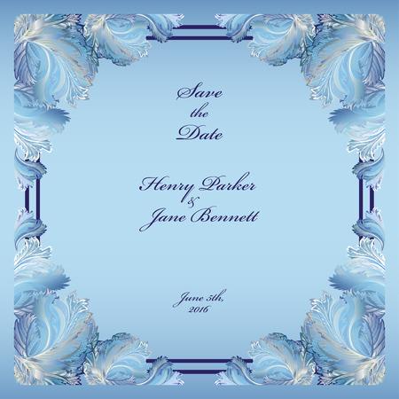 frozen glass: Wedding frame with winter frozen glass design. Printable abstract background. Light blue design.
