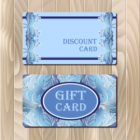 frosted window: Discount, Voucher, Gift certificate, Coupon template. Holiday or celebration background design for invitation, banner, ticket. illustration in blue color.