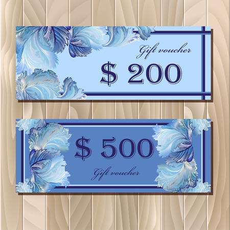 frosted window: Gift certificate, Coupon template,Voucher. Holiday or celebration background design for invitation, banner, ticket.