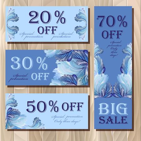 vouchers: Big sale, Voucher, Gift certificate, Coupon template. Holiday or celebration background design for invitation, banner, ticket. illustration in blue color.