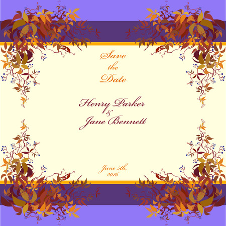red leaves: Wedding frame. Vector background with autumn wild grape branches with orange red leaves. Printable backgrounds. Deep blue and orange wedding design blank template.