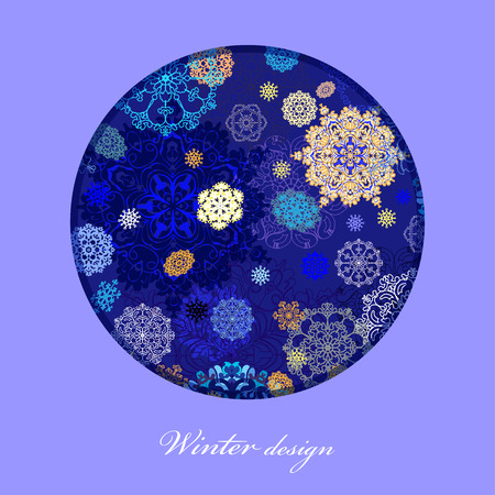 frosted window: Winter abstract circle design with gold, blue and white snowflakes and stars and dark blue background. Text place. Vintage vector illustration. Illustration