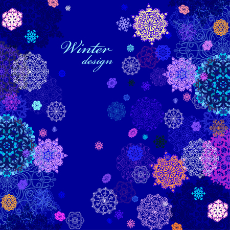 rime frost: Winter abstract vertical border design with pink, blue and white snowflakes and stars and dark blue background. Text place. Vintage vector illustration.