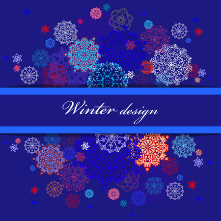 rime frost: Winter abstract design with red, pink, blue and white snowflakes and stars and dark blue background. Horizontal border stripe and text place. Vintage vector illustration. Illustration