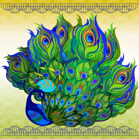 fanned: Peacock bird with fully fanned tail and light background. Beautiful oriental design. Vector illustration.