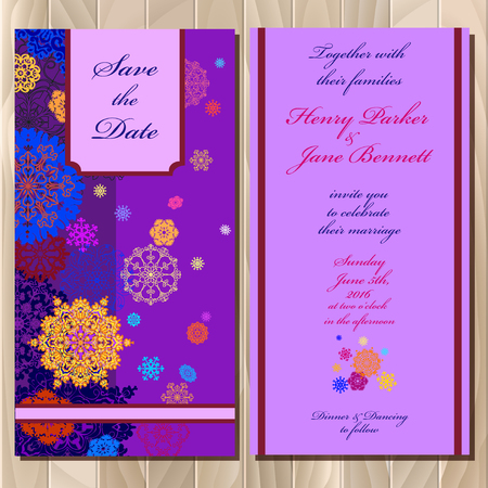 winter wedding: Wedding invitation card with red, pink, gold, blue and white snowflakes and stars and violet background. Printable abstract vertical design set. Vector illustration.