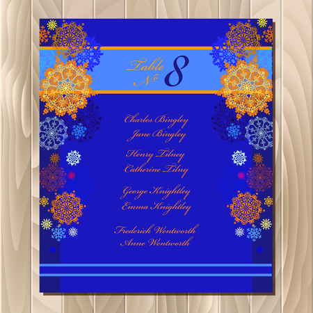 wedding guest: Wedding guest list for table. Winter snowflakes  background. Blue wedding design blank template. Vector illustration Illustration