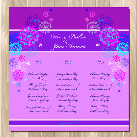 wedding guest: Snowflakes wedding guest list for table. Winter snowflakes background. Pink wedding design blank template. Vector illustration