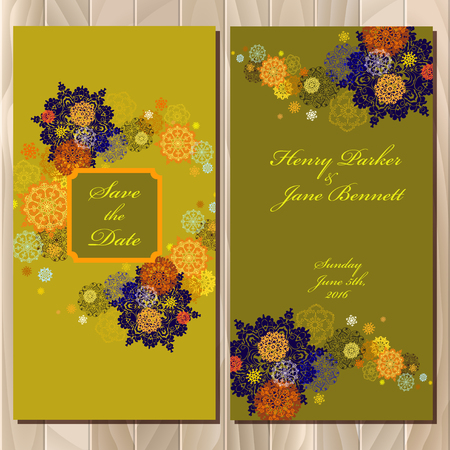 Snowflakes wedding invitation card. Save date text. Pistachio, khaki, gold, orange and yellow snowflakes, stars, green and pea background. Printable abstract vertical design set. Vector illustration. Illustration