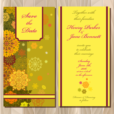 winter wedding: Snowflakes wedding invitation card. Save date text. Pistachio, khaki, gold, orange and yellow snowflakes, stars, golden green  background. Printable abstract vertical design set. Vector illustration.