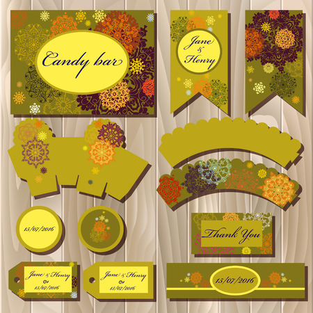 candy bar: Snowflakes set of printable backgrounds to celebrate the party, birthday and wedding. Mock wrapping winter snowflakes and stars yellow design. Candy bar packaging template. Vector illustration. Illustration