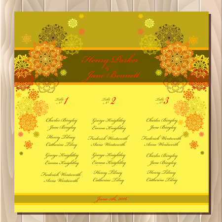 wedding guest: Yellow snowflakes wedding guest list for table. Yellow snowflall background. Sunny wedding design blank template. Card with orange and yellow snowflakes, stars and gold background. Vector illustration