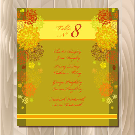 wedding guest: Golden snowflakes wedding guest list for table. Yellow snowflall background. Sunny wedding design blank template. Card with orange and yellow snowflakes, stars and gold background. Vector illustration Illustration
