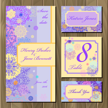 wedding table decor: Winter snowflake printable design set. Invitation card, table number, guest card. Red, pink, gold, blue and white snowflakes and stars and loght violet and peash background.  Vector illustration.