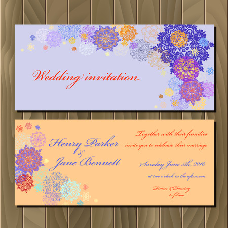 wedding celebration: Wedding snowflakes invitation card with violet, pink, gold, blue and white snowflakes and stars and violet and peach background. Printable abstract horizontal design set. Vector illustration. Illustration
