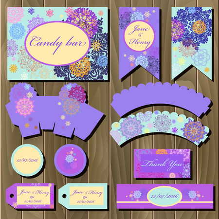 printable: Snowflakes set of printable backgrounds to celebrate the party, birthday and wedding. Winter snowflakes design. Candy bar packaging.