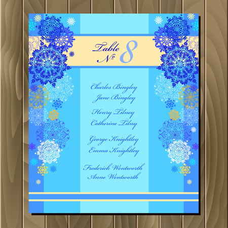 wedding guest: Snowflakes wedding guest list for table. Winter snowflall background. Blue wedding design blank  template. Card with blue and white snowflakes and stars and blue cyan background. Vector illustration