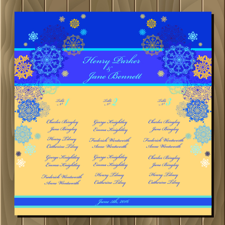 wedding guest: Snowflakes wedding guest list for table. Winter snowflall background. Wedding design blank template. Card with blue and yellow snowflakes and stars and blue and cyan background. Vector illustration