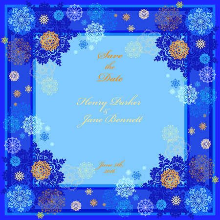 darck: Winter snowy wedding frame with cyan, violet, blue and white snowflakes and stars and darck blue background. Square label design. Save date text place. Snowfall vintage vector illustration.