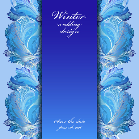hoar frost: Cold winter ice ornament border. Hoarfrost texture decor background. Winter blue frozen glass background. Blue vertical border stripe and text winter wedding design and save date. Vector illustration.